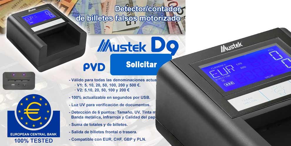 Detector de billetes falsos motorizado Mustek D9
